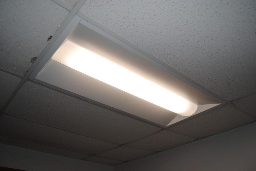 LED ceiling light in office